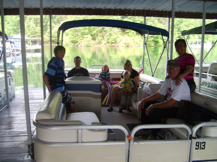 Jack Exum Jr and Wiwik on boat trip in Murphy, N.C. with family