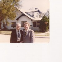 Dads brother Fred Exum Jr., and dad in front of the Exum homestead.