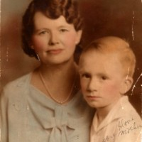 Jack Exum (6) and his mother Alma Jewel (Selley) Exum (41)